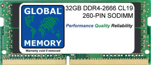 32GB DDR4 2666MHz PC4-21300 260-PIN SODIMM MEMORY RAM FOR LAPTOPS/NOTEBOOKS