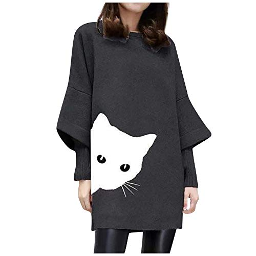 OutTop Long Sweatshirts Flare Cuff Sleeve Comfy Crewneck Funny Cats Casual Pullover Tunic Tops for Leggings for Women (Black, L)