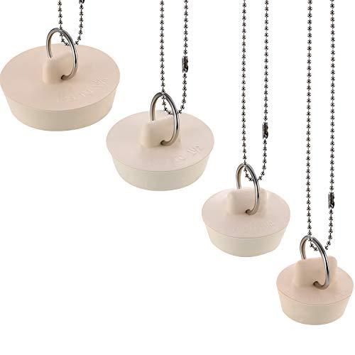 4 Pezzi Tappo di Scarico in Gomma Tappo di Scarico del Tappo del Lavello con Anello Appeso e 30 cm Catene a Sfera