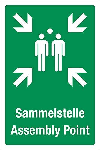 WERBEPUNKT. Schild Sammelstelle Sammelplatz Sammelpunkt Fluchtweg 3 mm Alu-Verbund 450 x 300 mm