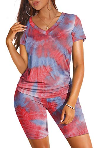 Summer Outfits for Women 2021 Short Sleeve Tie Dye Tops Purple S