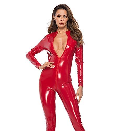 JYCDD Frauen Reizvoller Overall Zipper Erwachsener Cosplay Abendkleid-Overall,Rot,L