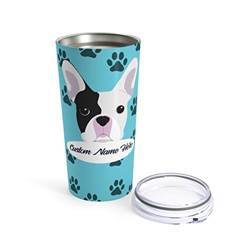 Custom French Bulldog Travel Mug - 30 Breeds to Choose From Personalized Tumbler or Mug for Coffee Beer Warm Cold Drinks Men Women Dogs Gifts 20oz