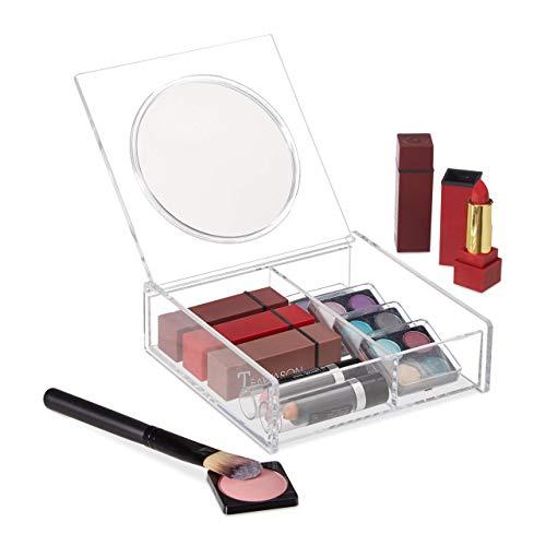 Relaxdays 10026562_50 Organiseur, Miroir, rouge à lèvres, Maquillage, 2 compartiments, Support acrylique, transparent, verre, 4,5 x 15 x 15 cm