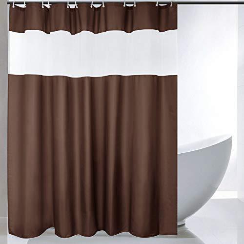 Ebecede Duschvorhang, 121,9 x 183,9 cm, Schokoladenbraun mit weißen Streifen, 90 g/m²