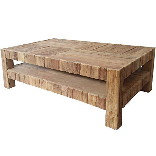 MÖBEL IDEAL Couchtisch aus massivem Teak/Teakholz im rustikalen Design Tisch - B 75 x T 130 x H 45 cm - Wohnzimmertisch in Braun Massivholz
