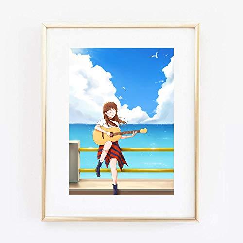 Din A4 Kunstdruck ungerahmt - Manga Mädchen mit Gitarre Musik Fantasy Anime Japan Comic Style Kawaii Druck Poster Bild