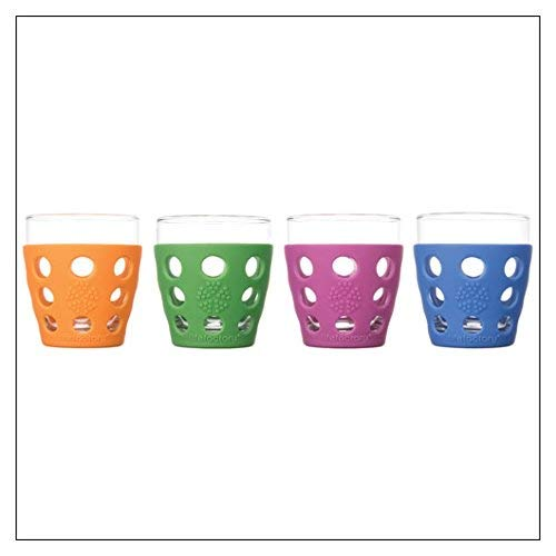 Lifefactory 10-Ounce BPA-Free Indoor/Outdoor Protective Silicone Sleeve Beverage Glass, 4-Pack, Orange, Grass Green, Cobalt, Huckleberry