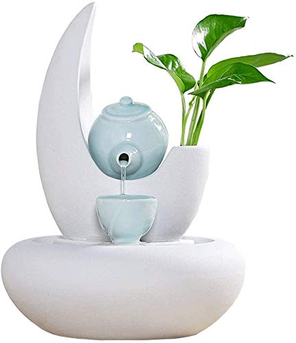 Fuente interior de cerámica fuente tablero Feng Shui Lucky agua Adornos de estar Oficina Sala de la decoración del hogar Creative Zen cerámica decorativa cascada fuente de escritorio Fuente interior