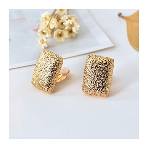 Lindos Clips De Oreja De Rectángulo para Niñas Square Women Women Clip Earings Sin Agujero Perforado Gold Punk Clip-on Pendientes para Mujeres