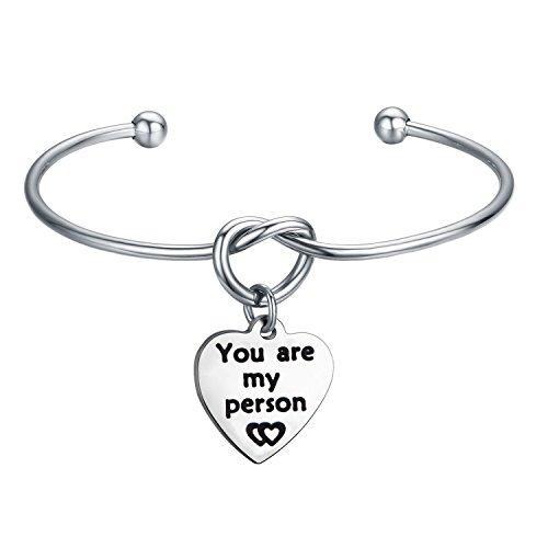 """Kuiyai Bracciale rigido con nodo e scritta """"You are My Person"""", per coppie, migliori amiche, idea regalo e Acciaio inossidabile, cod. UK-person knotB"""