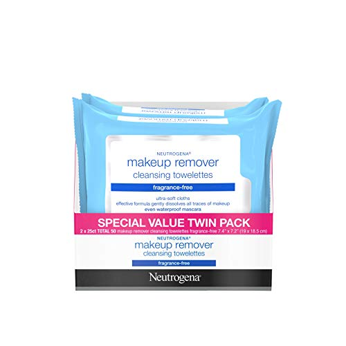 Neutrogena Cleansing Fragrance Free Makeup Remover Facial Wipes, Daily Cleansing Facial Towelettes for Waterproof Makeup, Alcohol-Free, Unscented, Value Twin Pack, 25 Count, 2 Pack