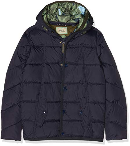 Scotch & Soda Jungen Jacke Quilted puffer jacket with double hood construction in mid l, Blau (Night 002), 128 (Herstellergröße: 8)