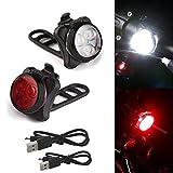 LED Fahrradbeleuchtung Fahrradlicht Set,LED Silikon Fahrradleuchte USB Wiederaufladbare,Fahrrad Vorne Rücklicht Set Push Cycle Clip Licht, Sicherheitslicht mit 5 Lichtmodi (2 Stück)