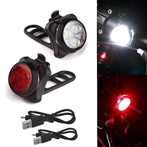 About1988 LED Fahrradlicht Set, StVZO Zugelassen USB Wiederaufladbare Fahrradleuchte, Fahrradlampe Fahrradlicht, Rücklicht, Aufladbare Fahrradlichter mit 5 blinkenden Modi, 2 USB-Kabel (B)