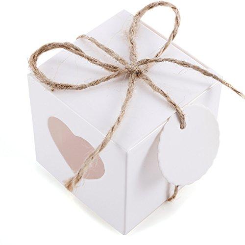 Anladia 100xKraftpapier Geschenkbox Geschenkschachtel Klein Weiß 5x5x5cm, Gastgeschenk Box mit Herz Tags und Jute Schnur für Hochzeit Weihnachten