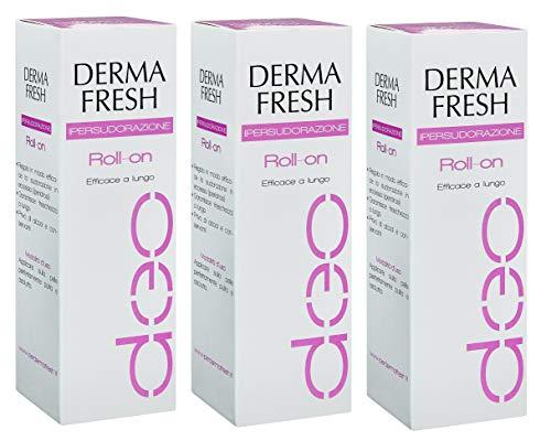 3X DERMAFRESH IPERSUDORAZIONE - Deodorante Roll On da 75ml - LUNGA DURATA