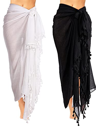 Geyoga 2 Pieces Beach Towels Long Sarong Wrap Fringed Swimsuit Shawl for Ladies, 27 x 67 Inch (Black, Beige)