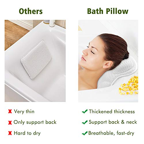 Bath Pillow for Tub, Luxury Bathtub Cushion for Neck Head Shoulders Back Support, Thick Spa Pillows with 6 Suction Cups Breathable Comfort 4D Air Mesh Quick Dry Bath Accessories for Jacuzzi, Hot Tub