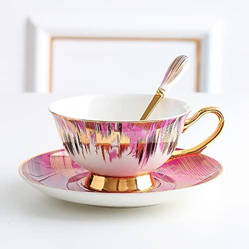 Taza De Té De Cerámica De Porcelana De Hueso Taza De Café, Tazas De Café Y Platillo Traiga Una Cuchara Taza De Té De Porcelana De China,Rosado,1PCS