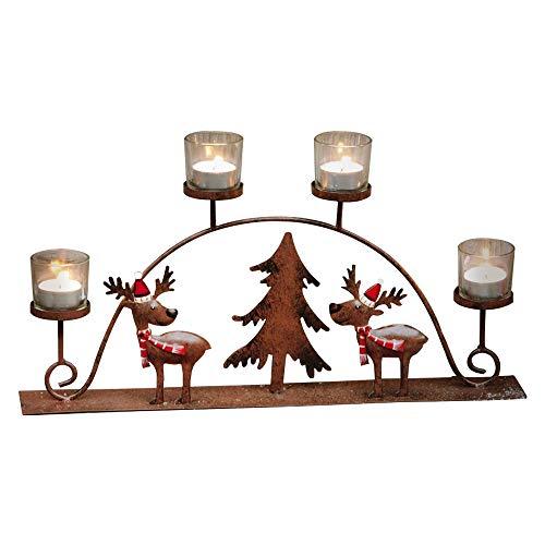 Decdeal Kerzenhalter Aus Eisen Weihnachtskerzenhalter Elchanzug mit 4 Tasse Für Urlaubs und Hochzeitsdekorationen
