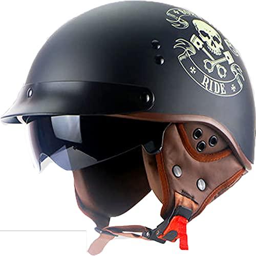 LPXPLP Retro Casco De Moto Abierto para Mujer Hombre,Casco Moto Jet con Protectores para los oídos Desmontables ECE Certificado Half Helmet,para Adultos Medio Casco 2,L