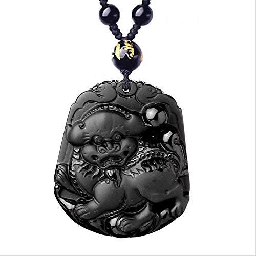 BACKZY MXJP Collar De Obsidiana Negra Colgante De Obsidiana Natural Pequeño León Colgante De Jade Joyería De Jade Joyería De Hombre Joyería De Mujer