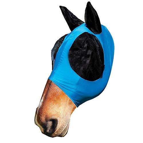 zunbo - Máscara antimoscas con orejas, protección contra rayos UV, malla suave de licra, para caballos, color azul