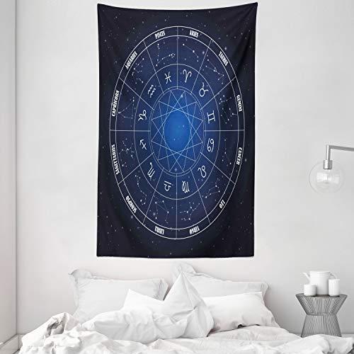 ABAKUHAUS Astrología Tapiz de Pared y Cubrecama Suave, Zodíaco Horóscopo en Forma de Rueda con Fechas en Espacio Lunares Imagen, Resistente a la Suciedad, 140 x 230 cm, Azul Oscuro