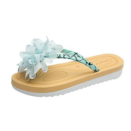 iYmitz Damen Flache Hausschuhe Lässige mit Blumem Flip Flops Sommer Mode Schuhefür Frauen Outdoor(Blau,EU 39)