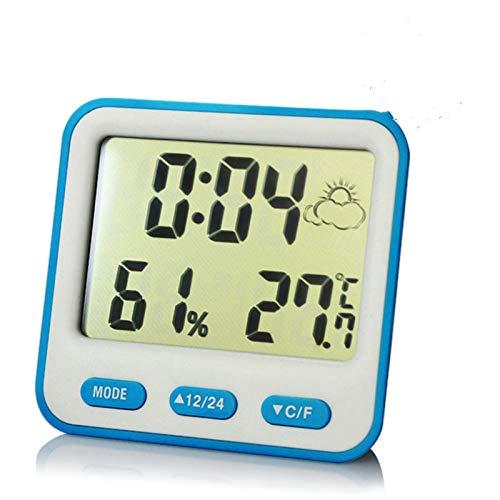 Termómetro con previsión meteorológica Muestra el Temporizador de Pantalla Grande Reloj Despertador electrónico en Azul