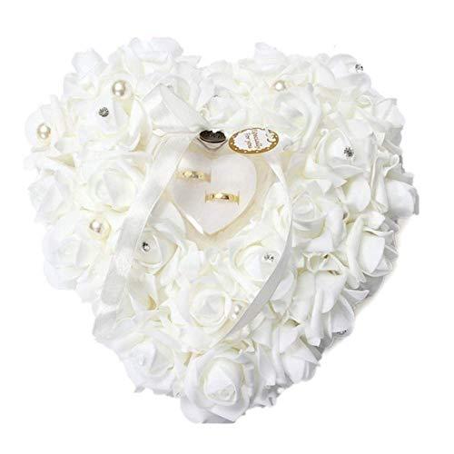 Cuscino per fedi nuziali, romantico Scatola per anelli di cuore, a forma di cuore con rose, porta fedi nuziali, satin flora gioielli di nozze accessori, 24 x 25 cm, biano