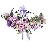 AWAYTR Boho Blumenkrone Stirnband Festival Kopfschmuck - Handgefertigt Blume Haarkranz mit Band Beere Blumenstirnband für Frauen und...