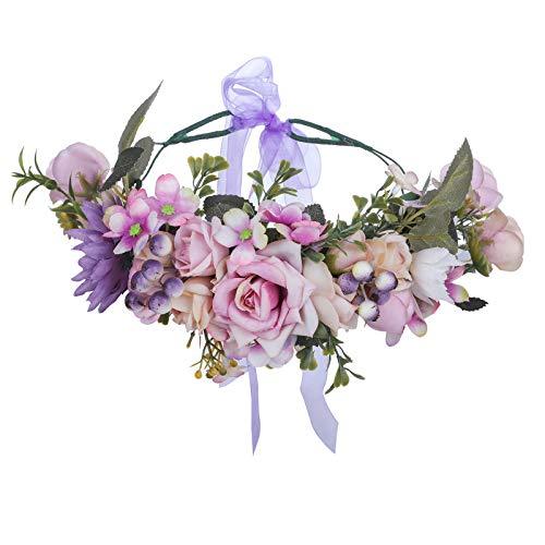Copricapo da Festival con fascia a corona di fiori - Ghirlanda di capelli con fiori fatti a mano con fascia a fiori di bacche di nastro per donne e ragazze (Viola + cachi)