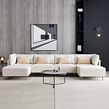Beige Sectional Couch U Shape,JULYFOX 143.3 inch Extra Wide Sectional Couch Sofa with Double Chaise Ottoman Lounger 12 inch Overstuffed Extra Wide Seat Mid Century Modern Design