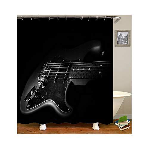 MaxAst Duschvorhang Badewanne Schwarz Gitarre Duschvorhang Wasserdicht Anti-Schimmel Duschvorleger Polyester Badvorhang 180x200CM