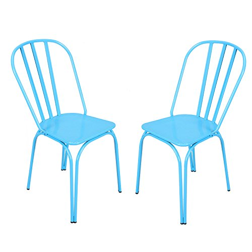 Adeco Contemporary Style Metal Stackable Hollow Back Chairs, Set of 2