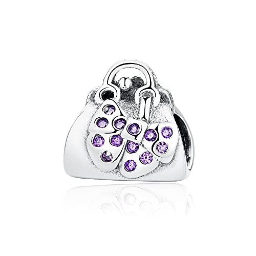 LYDXD Fit Original Pandora Charm Armbänder 925 Sterling Silber Perle Pave Cz Bowknot Handtasche Halskette DIY Frauen Schmuck