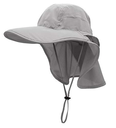 Sonnenhut Herren Damen UPF 50+ Outdoor UV Summer Cap mit Nackenschutz Hiking Fischerhut Strand Faltbar Safari Buschhüte Mesh Hat (Grau)