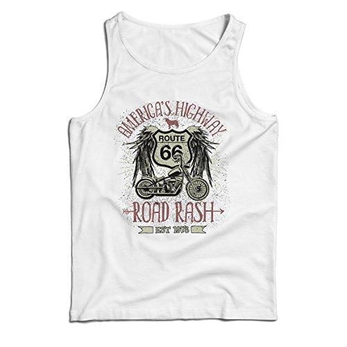 lepni.me Camisetas de Tirantes para Hombre Ruta 66, autopista de los Estados Unidos - Road Rash, Ropa de Motorista (XXXX-Large Blanco Multicolor)