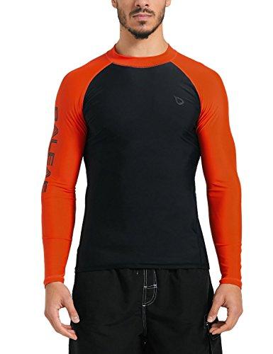 BALEAF Men's Basic Long Sleeve Rashguard UV Sun Protection Athletic Swim Shirt UPF 50+ Black/Orange M