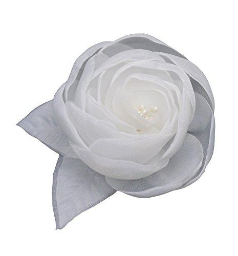 LIDA LYDI - Spilla a forma di fiore in tessuto di organza, colore avorio