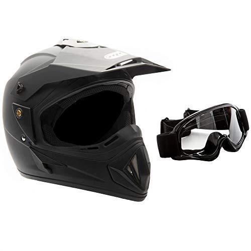 MMG 30 Motorcycle Off Road Helmet DOT - MX ATV Dirt Bike Motocross UTV - Flat Matte Black, Large. Includes Goggles