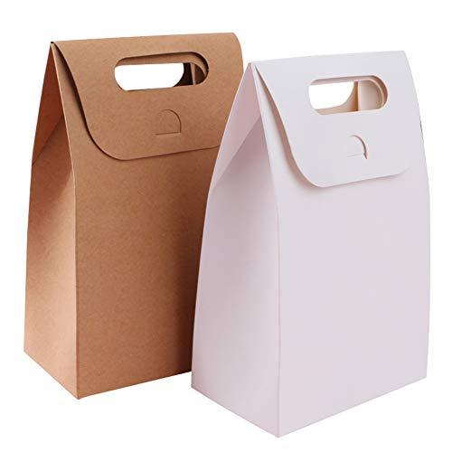 Skyoo 40 Stks Draagbare Kraft Papieren Tassen Stand Up Tassen Voedsel Tassen voor Taarten, Snoepjes, Brood, Koffie, Thee Kleur Wit en Bruin Moederdag (20stks Wit +20 stks Bruin)