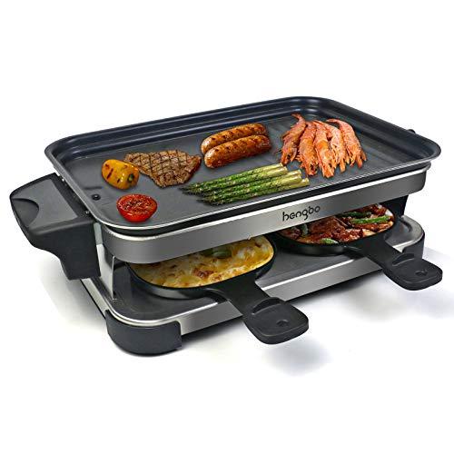Raclette 4 Personen Antihaft-Beschichtung, Raclette Grill Elektrisch Ölbehälter Design, Leicht zu Reinigen, Verbesserte 4 Raclette-Pfannen & 4 Holzspatel - 1300Watt