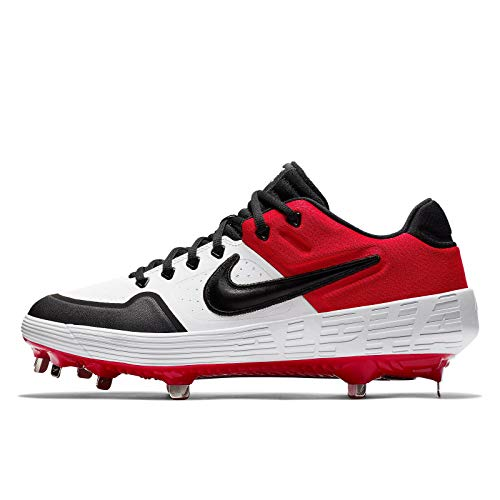 Nike New Mens Alpha Huarache Elite 2 Low Metal Baseball Cleats White/Red 7M