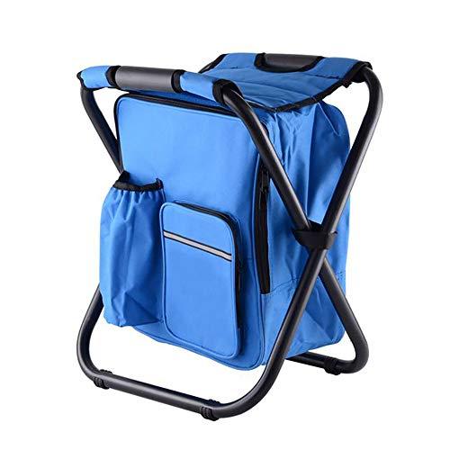 XIAOHE Chaise de Sac à Dos Pliable portative, Chaise de Sac de Glace de Loisirs en Plein air, bandoulière rembourrée multifonctionnelle, Pique-Nique Camping Nourriture Boisson,Blue