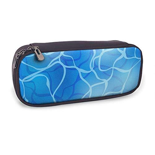Estuche Escolar de Gran Capacidad,Fondo de Piscina de Ondulación de Agua Azul Brillante,Bolsa de Lápiz Organizador para Material Papelería con Cremallera Doble