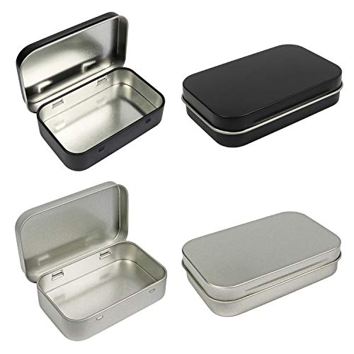 4 Pack Metal Rectangular Empty Hinged Tins Box Containers 375 by 245 by 08 Inch Silver amp Black Mini Portable Box Small Storage Kit Home Organizer 2 Black 2 Silver