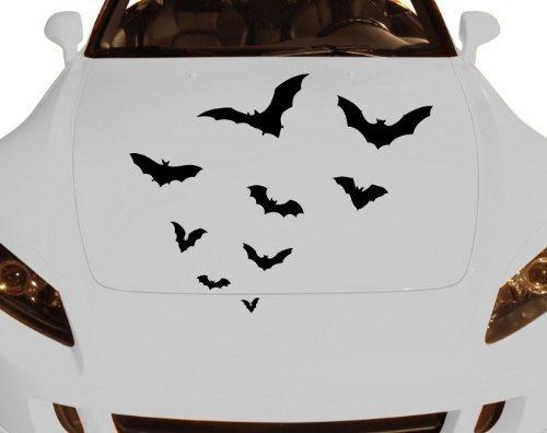 myDruck-Store Decalcomania Set Pipistrelli Pipistrello Sciame Halloween Adesivo Auto 5O001 - Nero Opaco